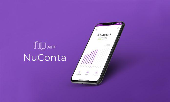 Imagem descritiva de uma conta bancária aberta em um smatphone. A NuConta.
